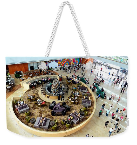 An Aerial View Of The Marina Bay Sands Hotel Lobby Singapore Weekender Tote Bag