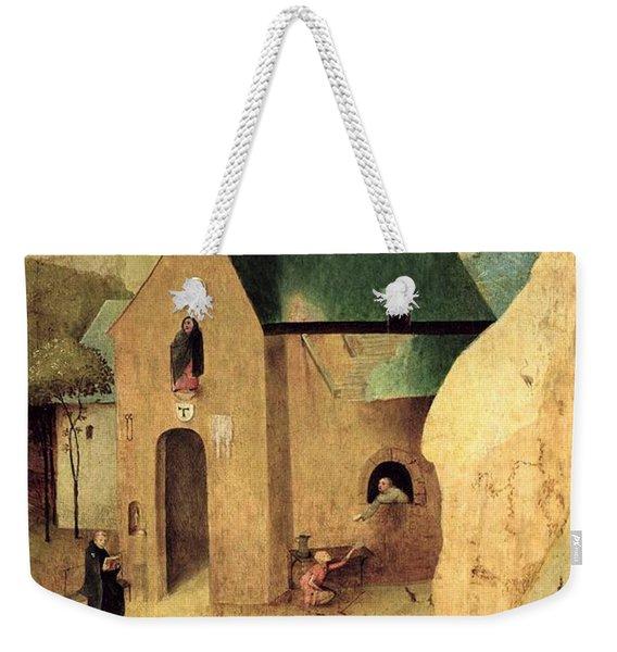 An Antonian Priory Oil On Panel Reverse Of 28165 Weekender Tote Bag