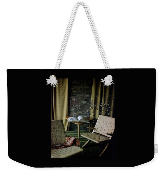 An Armchair Beside A Table And An Old Book Weekender Tote Bag