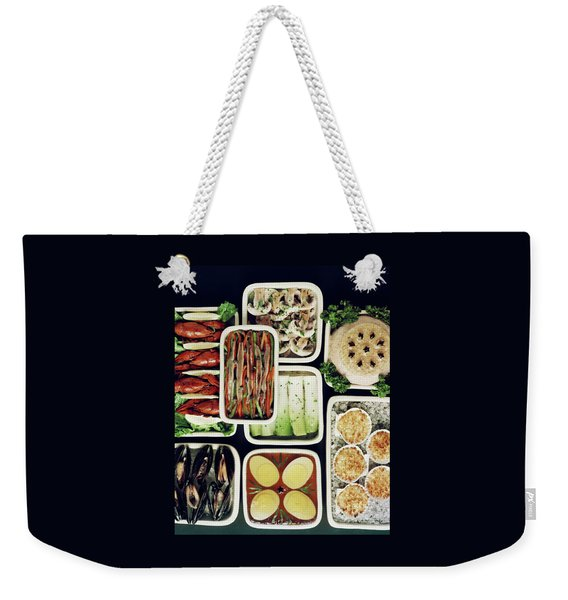 An Assortment Of Food In Containers Weekender Tote Bag
