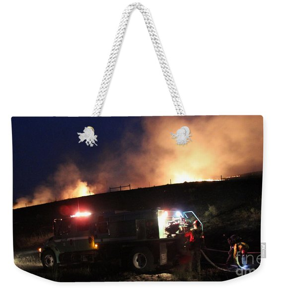 An Engine Crew Works At Night On White Draw Fire Weekender Tote Bag