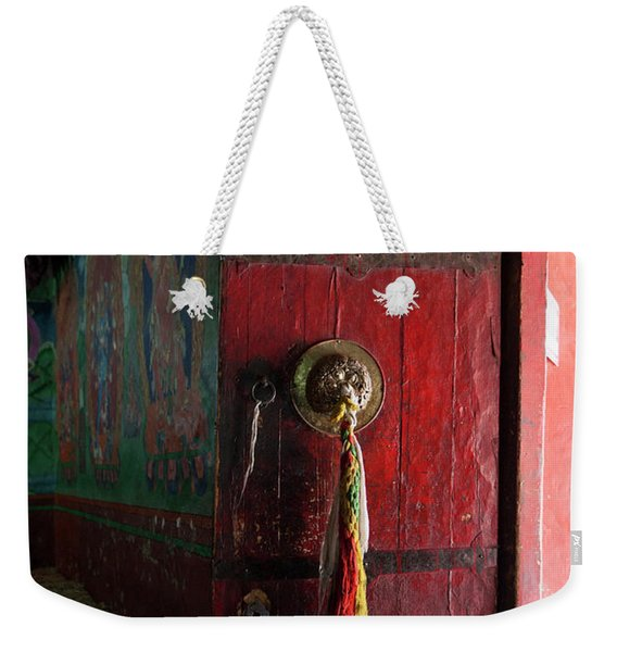 An Interior Of A Prayer Room With Door Weekender Tote Bag