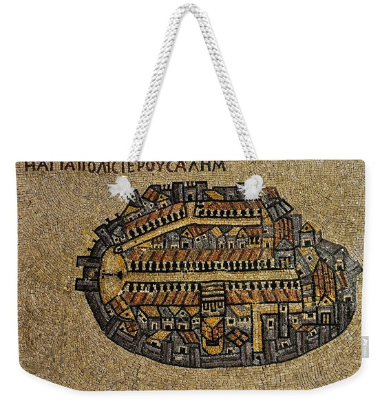 Ancient Jerusalem Mosaic Map Color Framed Weekender Tote Bag