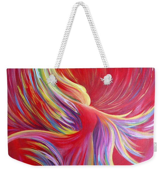 Weekender Tote Bag featuring the painting Angel Dance by Nancy Cupp