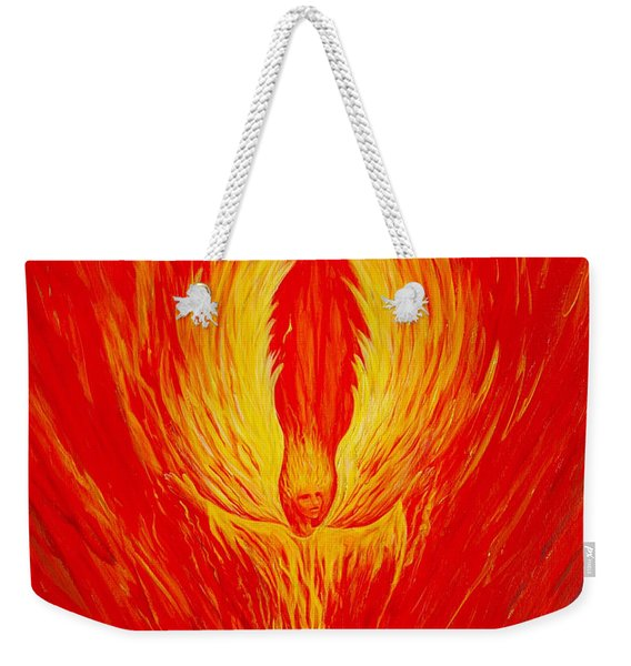 Weekender Tote Bag featuring the painting Angel Fire by Nancy Cupp