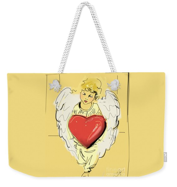 Angel Red Heart Weekender Tote Bag