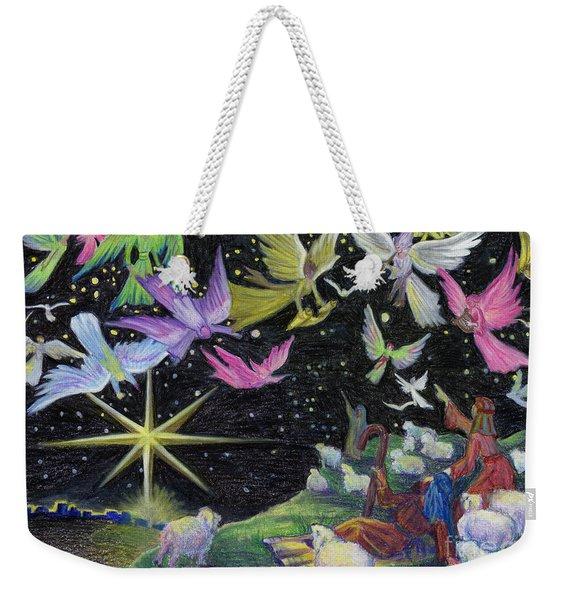 Weekender Tote Bag featuring the painting Angel Skies by Nancy Cupp