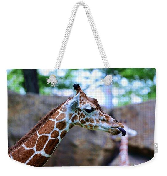 Animal - Giraffe - Sticking Out The Tounge Weekender Tote Bag
