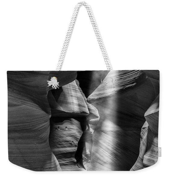 Antelope Canyon Light Beam Black And White Weekender Tote Bag