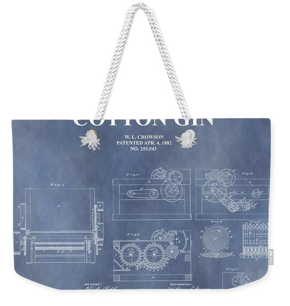 Antique Cotton Gin Patent Weekender Tote Bag