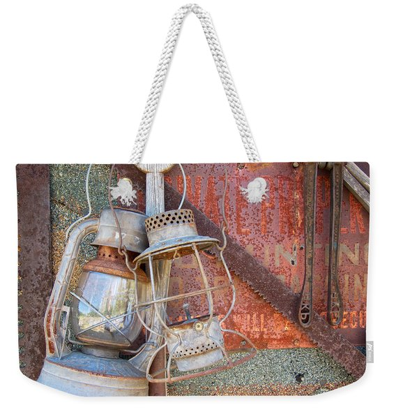 Weekender Tote Bag featuring the photograph Antique Kerosene Lamps by Mary Lee Dereske