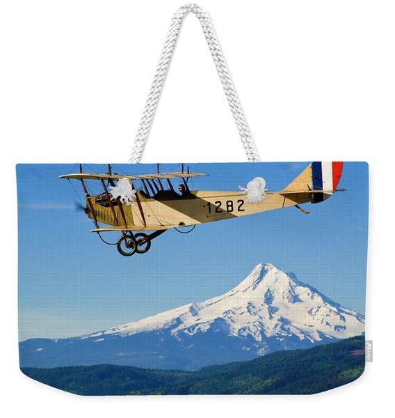 Antique Plane Flies Over Mt Hood - Hood Weekender Tote Bag