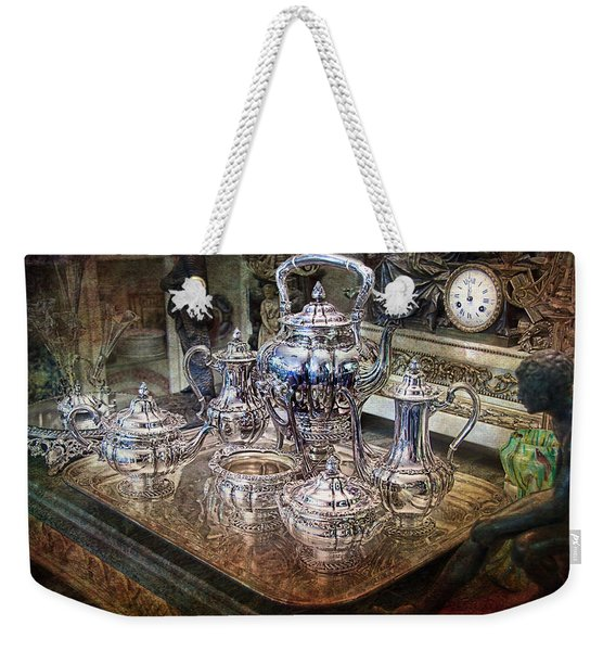 Weekender Tote Bag featuring the photograph Antique Tiffany Sterling Silver Coffee Tea Set by Gunter Nezhoda