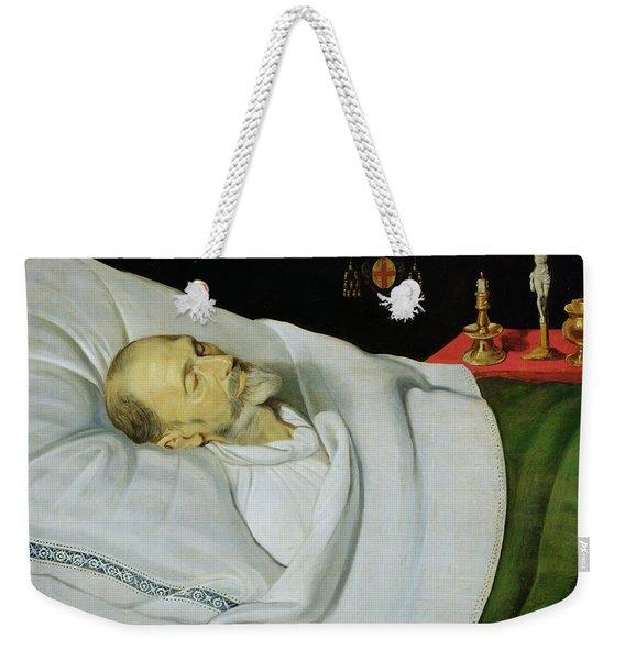 Antoine De Henin, Bishop Of Ypres, On His Death Bed Panel Weekender Tote Bag