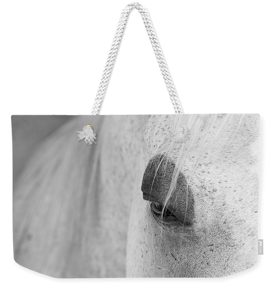 Weekender Tote Bag featuring the photograph Appaloosa Eye by Mary Lee Dereske