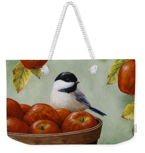 Apple Chickadee Greeting Card 1 Weekender Tote Bag