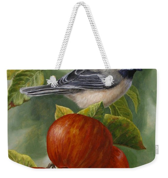 Apple Chickadee Greeting Card 2 Weekender Tote Bag
