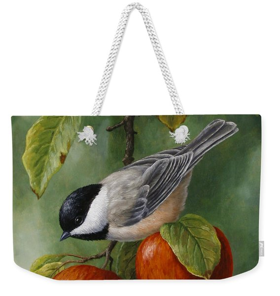 Apple Chickadee Greeting Card 3 Weekender Tote Bag