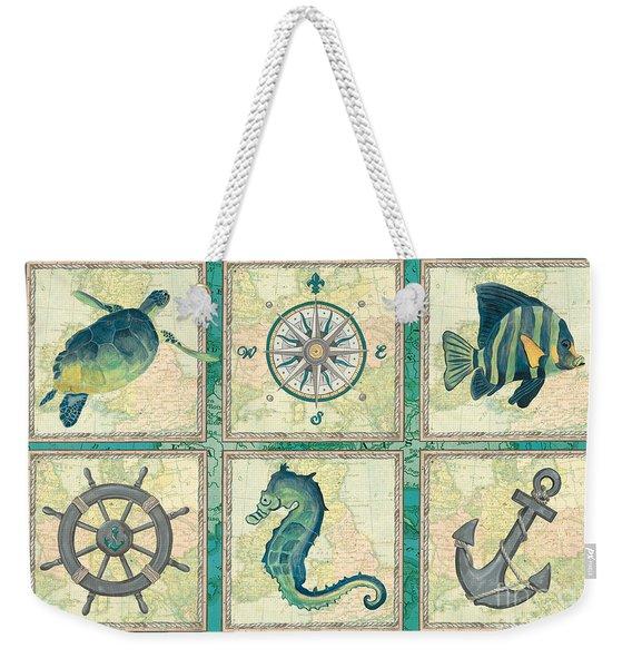 Aqua Maritime Patch Weekender Tote Bag