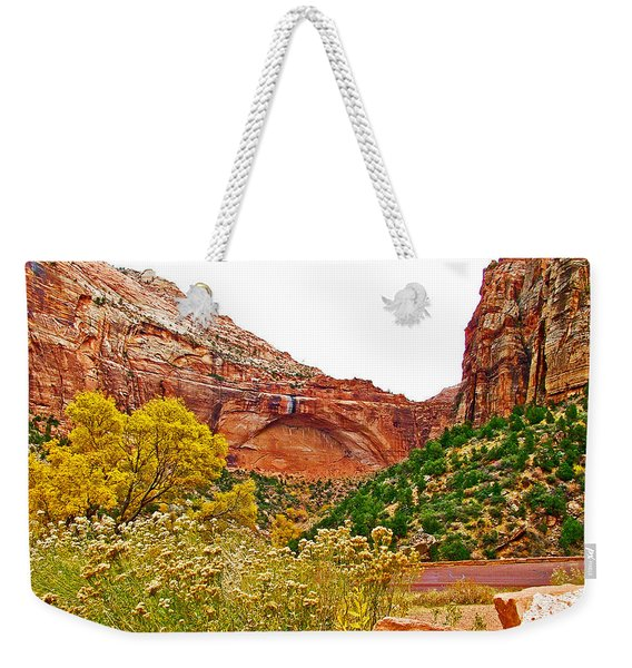 Arch In Progress From Zion-mount Carmel Highway In Zion National Park-utah  Weekender Tote Bag