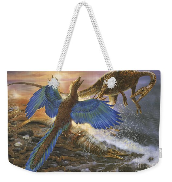 Archaeopteryx Defending Its Prey Weekender Tote Bag