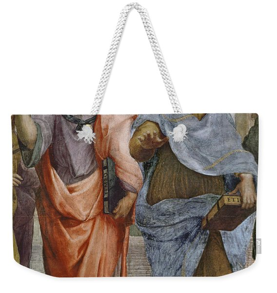 Aristotle And Plato Detail Of School Of Athens Weekender Tote Bag