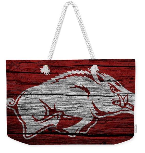 Arkansas Razorbacks On Wood Weekender Tote Bag