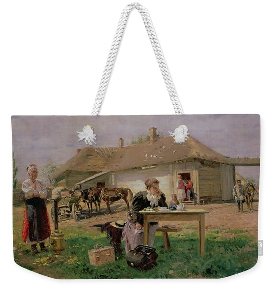 Arrival Of A School Mistress In The Countryside, 1897 Oil On Canvas Weekender Tote Bag