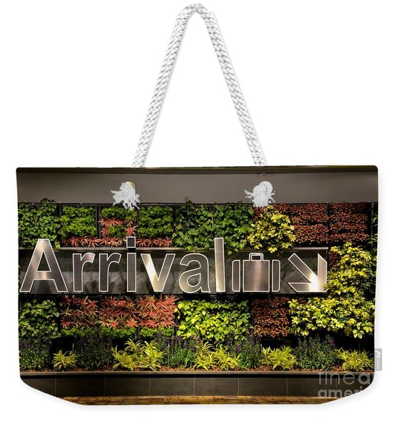 Arrival Sign Arrow And Flowers At Singapore Changi Airport Weekender Tote Bag