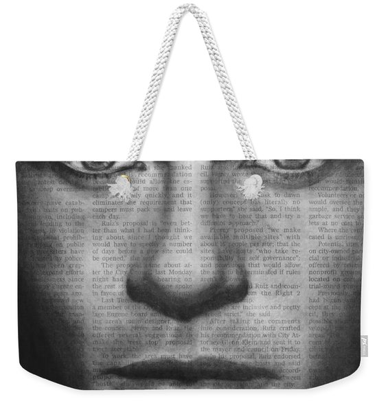 Art In The News 32- Brad Pitt Weekender Tote Bag