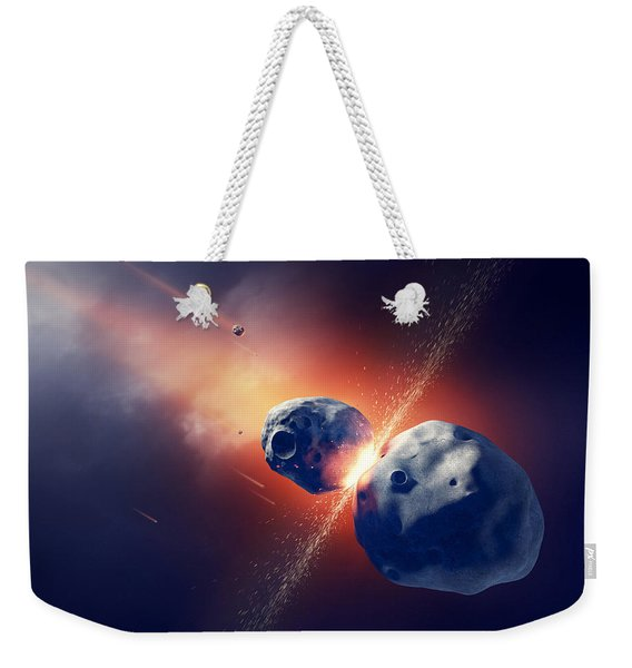 Asteroids Collide And Explode  In Space Weekender Tote Bag