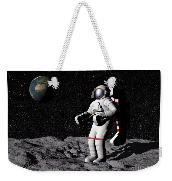 Astronaut On Moon With Earth Weekender Tote Bag