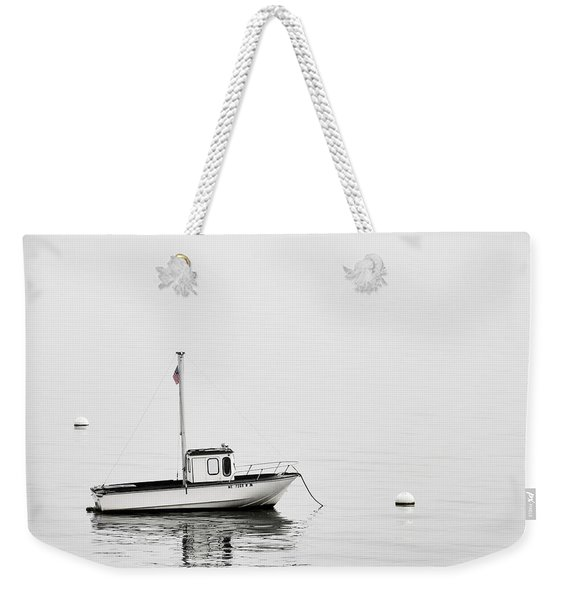 At Anchor Bar Harbor Maine Black And White Weekender Tote Bag