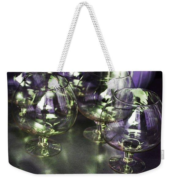 Aubergine Paris Wine Glasses Weekender Tote Bag