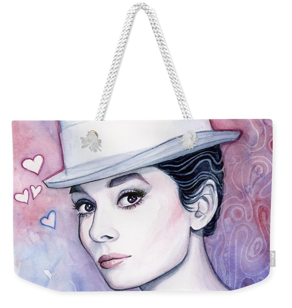 Audrey Hepburn Fashion Watercolor Weekender Tote Bag