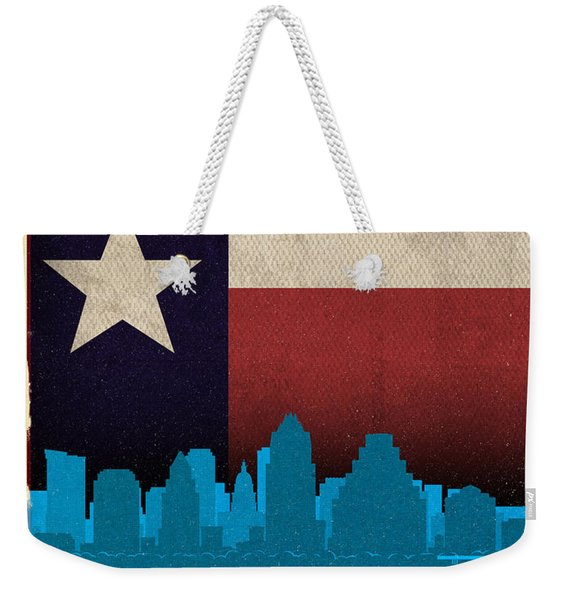 Austin City Skyline State Flag Of Texas Art Poster Series 010 Weekender Tote Bag