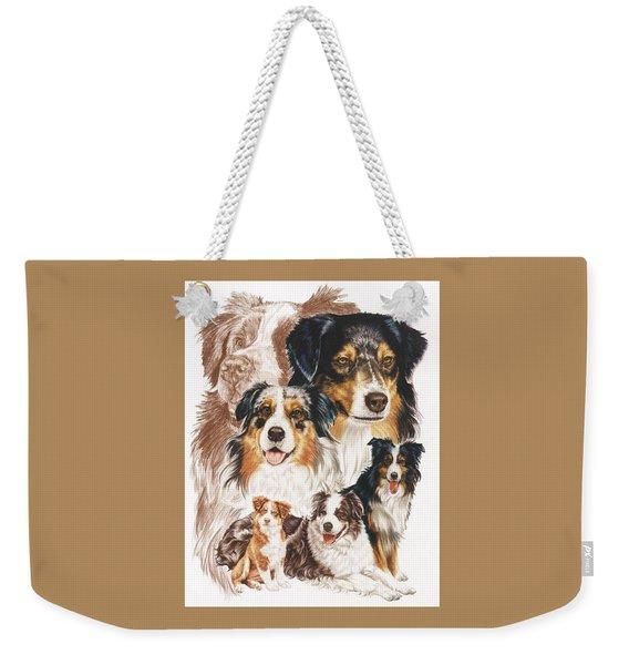 Weekender Tote Bag featuring the drawing Australian Shepherd Revamp by Barbara Keith