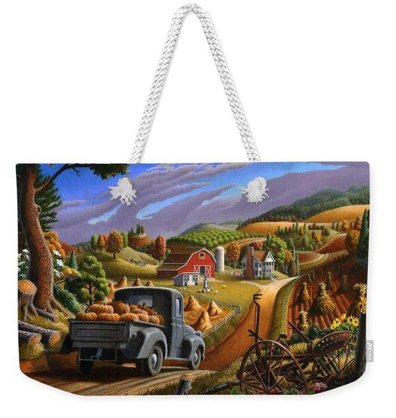 Autumn Appalachia Thanksgiving Pumpkins Rural Country Farm Landscape - Folk Art - Fall Rustic Weekender Tote Bag