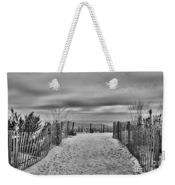 Autumn At The Beach B  W Weekender Tote Bag