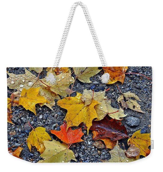 Autumn Leaves In Rain Weekender Tote Bag