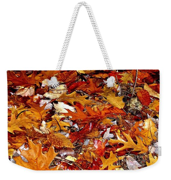 Autumn Leaves On The Ground In New Hampshire - Bright Colors Weekender Tote Bag