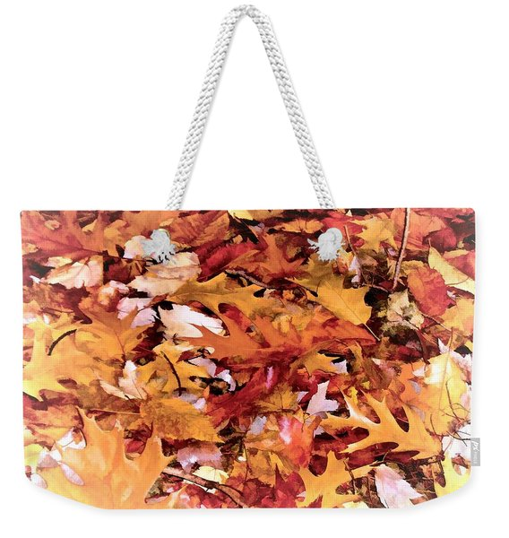 Autumn Leaves On The Ground In New Hampshire In Muted Colors Weekender Tote Bag