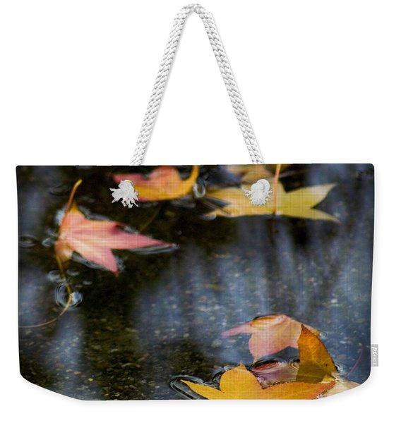 Autumn Leaves On Water Weekender Tote Bag