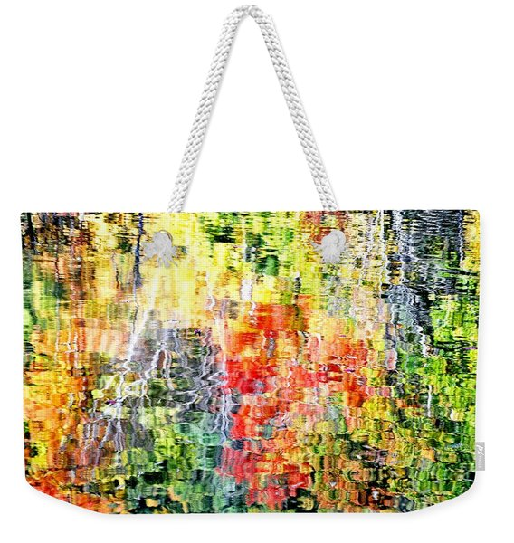 Autumn Leaves Reflected In Pond Surface Weekender Tote Bag