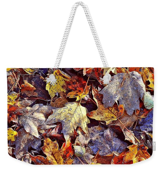 Autumn Leaves With Frost Weekender Tote Bag