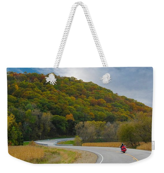 Autumn Motorcycle Rider / Orange Weekender Tote Bag
