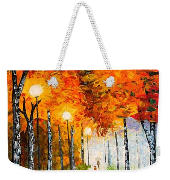 Autumn Park Night Lights Palette Knife Weekender Tote Bag