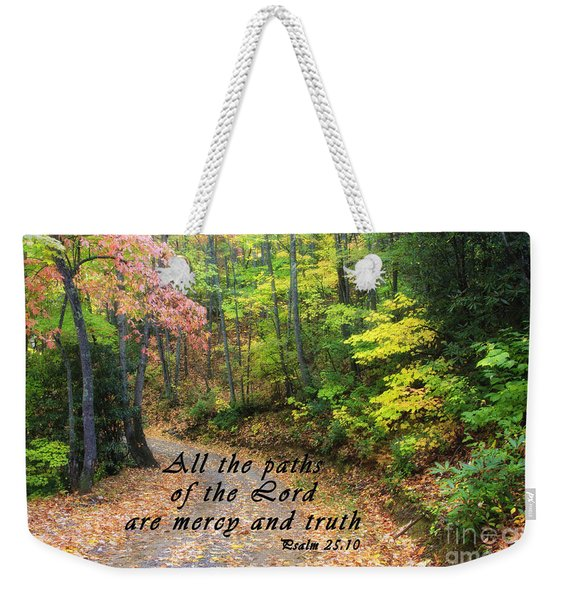 Autumn Path With Scripture Weekender Tote Bag