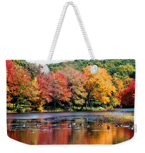 Weekender Tote Bag featuring the photograph Autumn Pond by William Selander
