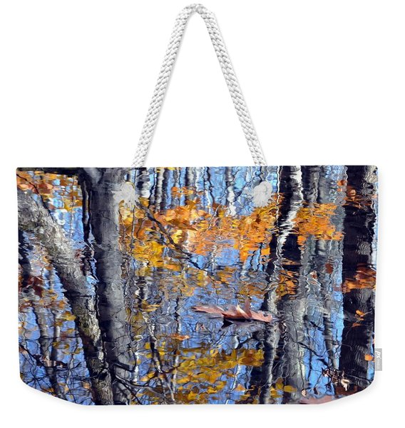 Autumn Reflection With Leaf Weekender Tote Bag